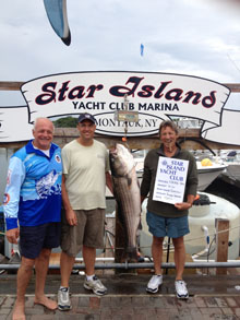 Antony Sanzone with his 41.1lb Striped bass caught on 7/20 aboard Capt Jim Tornincas' boat the Tenacious