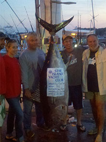 Dr Steve Sachs and crew with 200lb+ Big Eye tuna caught on the �Open Bite� on 8/24