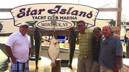 "Star Island Owner Sam Gershowitz(8.8lb Fluke) along with John Grillo (34.7lb Striped Bass), JIM Prizivalli (38.8lb Striped bass) and Ed Gorecki fishing aboard the ""Lil Marlena"" on July 23rd"