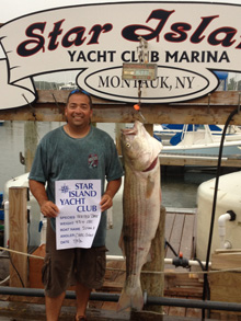 Chris Colavito of Warwick, NY with his 43.4lb Striped bass caught aboard the 'Susan A' on 7/15/12.