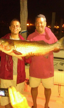 42 pounds caught on the night bite on the full moon on July 3 on a live eel  by Larry, Pete and Chris with Capt. Mike Elling aboard the Pilar.